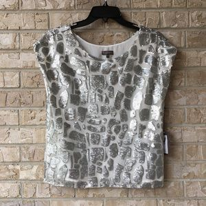 NWT Vince Camuto Silver Sequin Shirt Top Size XS
